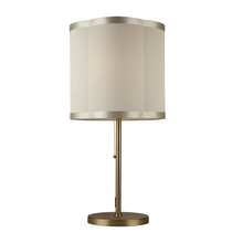 Steven & Chris SC579 - Three Light Antique Brass Scalloped Silk Shade Table Lamp