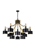 CWI Lighting 1017P32-12-129-A - 12 Light Down Chandelier with Matte Black & Satin Gold finish