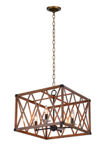 CWI Lighting 1033P18-4-230 - 4 Light Chandelier with Wood Grain Brown Finish