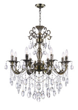 CWI Lighting 2012P30AB-8 - 8 Light Up Chandelier with Antique Brass finish