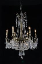 CWI Lighting 2048P25AB-9 - 9 Light Up Chandelier with Antique Brass finish