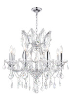 CWI Lighting 8311P24C-9 (Clear) - 9 Light Up Chandelier with Chrome finish