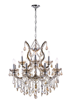 CWI Lighting 8311P30C-13 (Cognac) - 13 Light Up Chandelier with Chrome finish