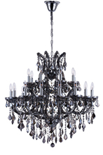 CWI Lighting 8318P36C-25 (Smoke) - 25 Light Up Chandelier with Chrome finish