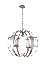 CWI Lighting 9950P26-6-221 - 6 Light Chandelier with Pewter finish