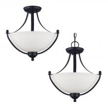 Generation Lighting - Seagull 77270-839 - Uptown Two Light Semi-Flush Convertible Pendant in Blacksmith with Satin Etched Glass