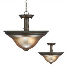 Sea Gull 7770402BLE-736 - Fluorescent Blayne Two Light Semi-Flush Convertible Pendant in Platinum Oak with Mercury Glass