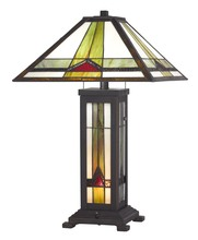 CAL Lighting BO-2795TB - 60W X 2 Tiffany Table Lamp With 7W Night Light