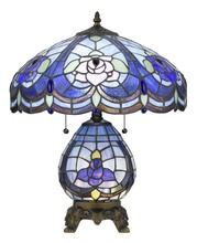 CAL Lighting BO-2799TB - 60W X 2 Tiffany Table Lamp With 7W Night Light