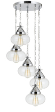 CAL Lighting FX-3624-5P - 60W X 5 Maywood Glass Pendant (Edison Bulbs Not Included)