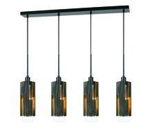 CAL Lighting FX-3641-4 - 60W X 4 Reggio Wood Pendant Glass Fixture (Edison Bulbs Not Included)