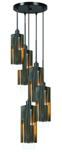 CAL Lighting FX-3641-5 - 60W X 5 Reggio Wood Pendant Glass Fixture (Edison Bulbs Not Included)