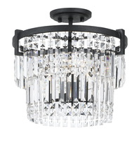 CAL Lighting FX-3647-3 - 60W X 3 Murdo Crystal Semi Flush Mount/Drop Pendant Dual Function Fixture