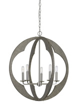 CAL Lighting FX-3683-5 - 40W X 5 Portici Wood Pendant Fixture (Edison Bulbs Not Included)