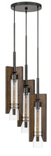 CAL Lighting FX-3690-3 - 60W X 3 Almeria Wood/Glass 3 Light Pendant Fixture (Edison Bulbs Not Included)