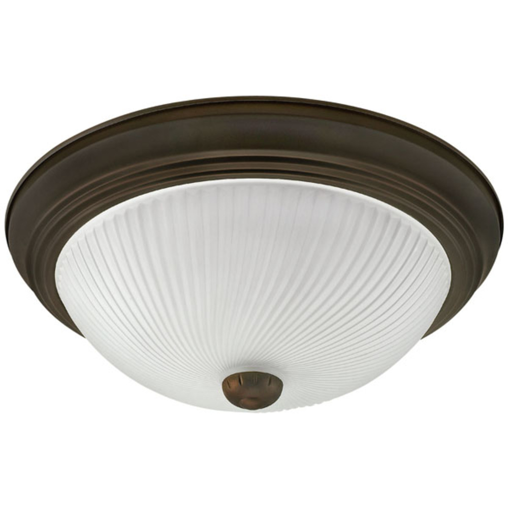 "Fmount, IFM213 ORB, 13"" 2 Bulb Flushmount, Frosted Swirl Glass, 60W Type A"