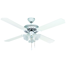"Canarm CF52CHA4WH - CFan 52"", Chateau II White, 4 Rev Blades, Clear Beaded Glass"