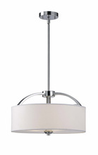 Canarm ICH425A03CH16 - Milano, ICH425A03CH16, 3 Lt Rod Chandelier, White Fabric Shade, Frosted Glass Diffuser, 100 W Type A