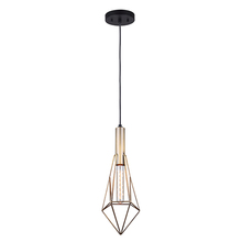 "Canarm IPL676A01BKG - GREER, IPL676A01BKG, Gold + MBK Color, 1 Lt Cord Pendant, 60W Type A, 6"" W x 19 1/2"" - 67 1/"