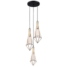 "Canarm IPL676A03BKG - GREER, IPL676A03BKG, Gold + MBK Color, 3 Lt Cord Pendant, 60W Type A, 14"" W x 19 1/2 - 67 1/2&#3"