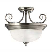 "Canarm ISF20BN - Julianna, ISF20BN, 2 Lt Semi-Flush Mount, Alabaster Glass, 60W Type A, 13 3/4"" W x 12"" H"
