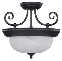 "Canarm ISF20A02ORB - Julianna, ISF20A02 ORB, 2 Lt Semi-Flush Mount, Alabaster Glass, 60W Type A19, 13 3/4"" W x 12&#34"