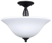 "Canarm ISF253A03ORB - Twenty One, ISF253A03 ORB, 3 Lt Semi-Flush Mount, Flat Opal Glass, 100W Type A, 15 1/4"" W x 13&#"