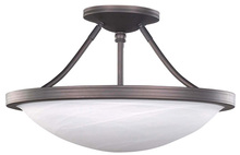 "Canarm ISF4113 - Alabaster, ISF41 ORB, 15"" Semi-Flush, 3 Bulb, Alabaster Glass, 100W Type A or B"