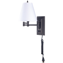 Canarm IWF113D - Wall, IWF1D ORB, Swing Arm  Wall Fixture, On/Off Switch, Fabric Shade, 60W Type C