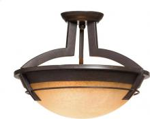 Artcraft AC2190 - Three Light Carmelized Glass Oil Rubbed Bronze Bowl Semi-Flush Mount