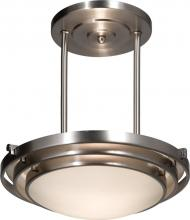 Artcraft AC2826BN - Three Light Brushed Nickel White Glass Bowl Semi-Flush Mount
