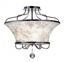 Artcraft AC2904 - Four Light Chrome Toile Linen Shade Bowl Semi-Flush Mount