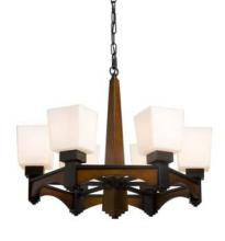 Artcraft AC816 - Six Light Mid Tone With Black Up Chandelier