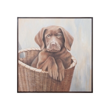 Elk Home 1616509 - CHOCOLATE LAB PUPPY; Hand painted Chocolate Lab pup on canvas in mahogany frame.