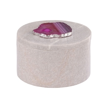 Elk Home 8989-024 - Antilles Round Box In White Marble And Pink Agate