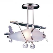 ELK Lighting 5051/1 - Novelty 1-Light Semi Flush in Satin Nickel with Prop Plane Motif
